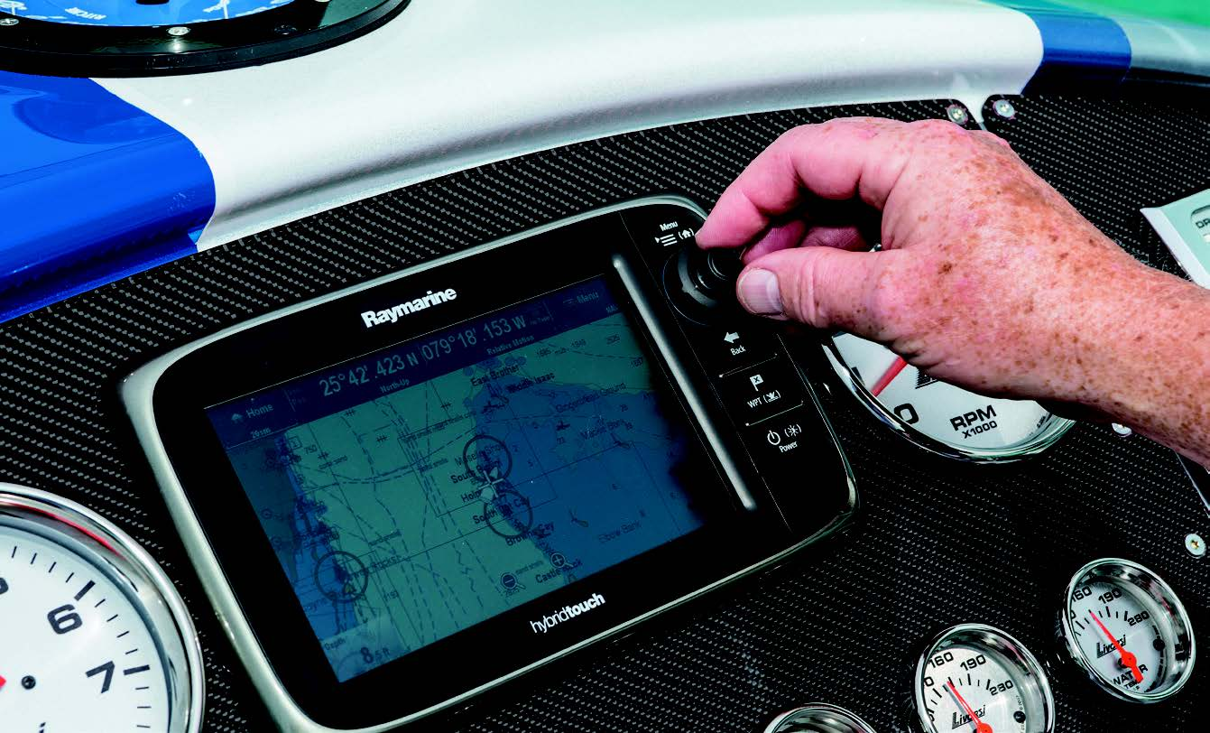 The Raymarine chartplotter makes it easy for the driver to enter his course before a poker run.