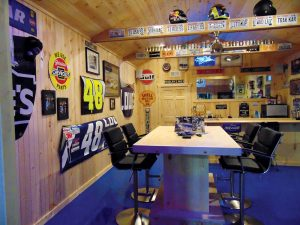 Customers can relax and check out some racing memorabilia in the 48 lounge.