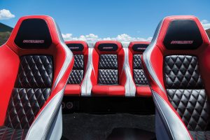 Three rear seats and two heavily padded bucket seats are featured in the redesinged interior