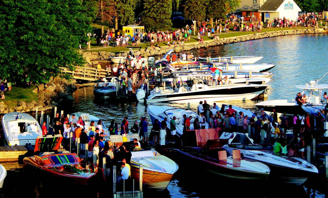 Before the event the docks in downtown Boyne City, Michigan, are full of spectators who love the power that's on display.