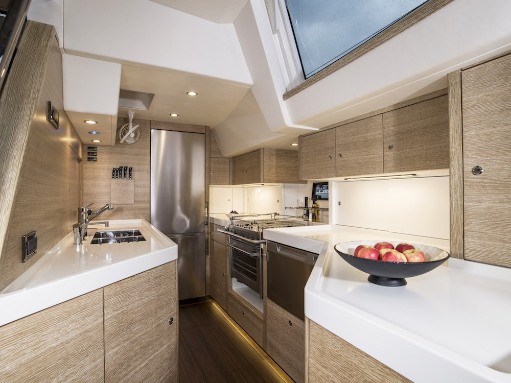 The large galley has all the conveniences you might expect.
