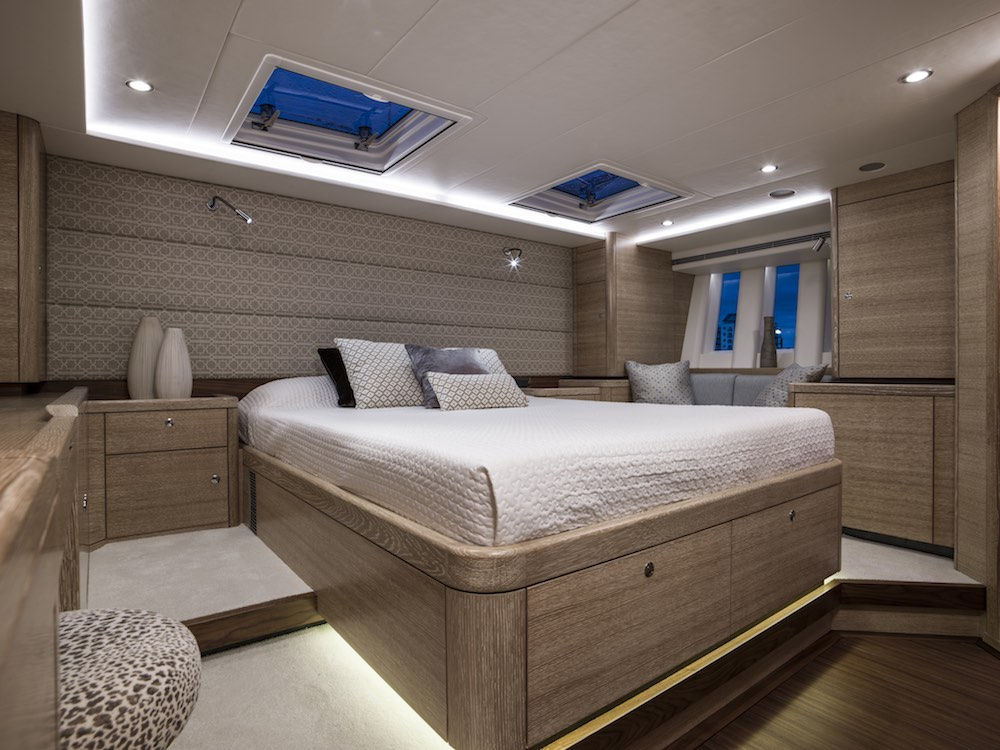 The owner's cabin on our test boat benefited from Oyster's signature vertical windows.
