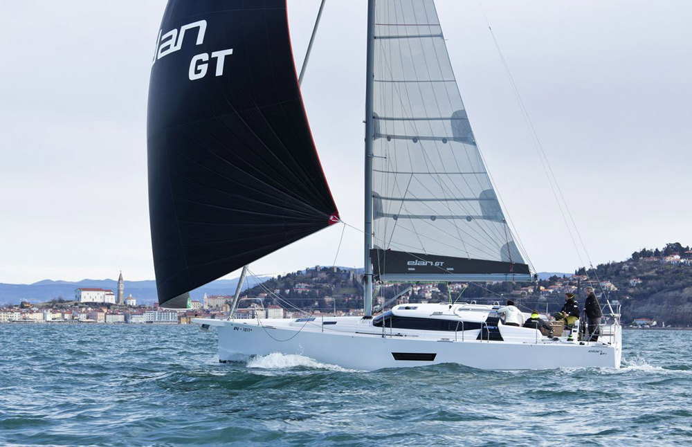 Sailing under gennaker off the picturesque city of Piran, the Elan GT5 made the most of a light breeze.