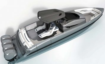 The aft-facing seat on the back of the helm is a design we haven't seen before and the boat can accommodate 12 passengers.